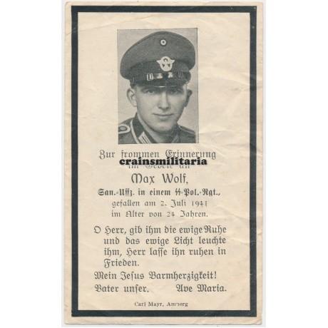 SS Polizei death card Holland