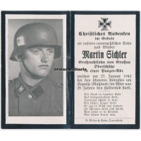 SS Panzer death card with Stahlhelm