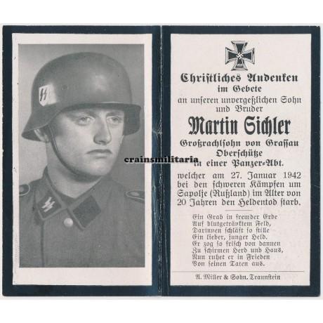 SS Panzer death card with Stahlhelm